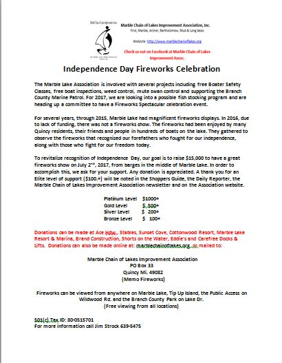 Fireworks Donation Letter  Marble Chain Of Lakes