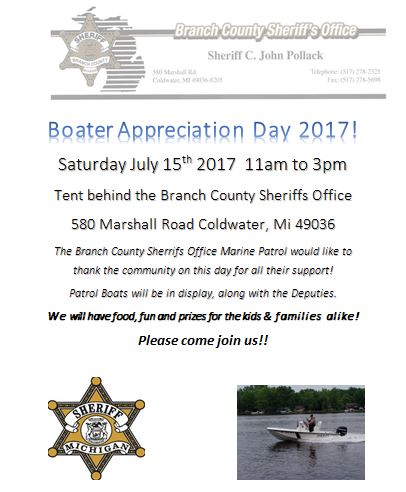 Branch County Marine Patrol Boater Appreciation Day – July 15th 11am to 3pm