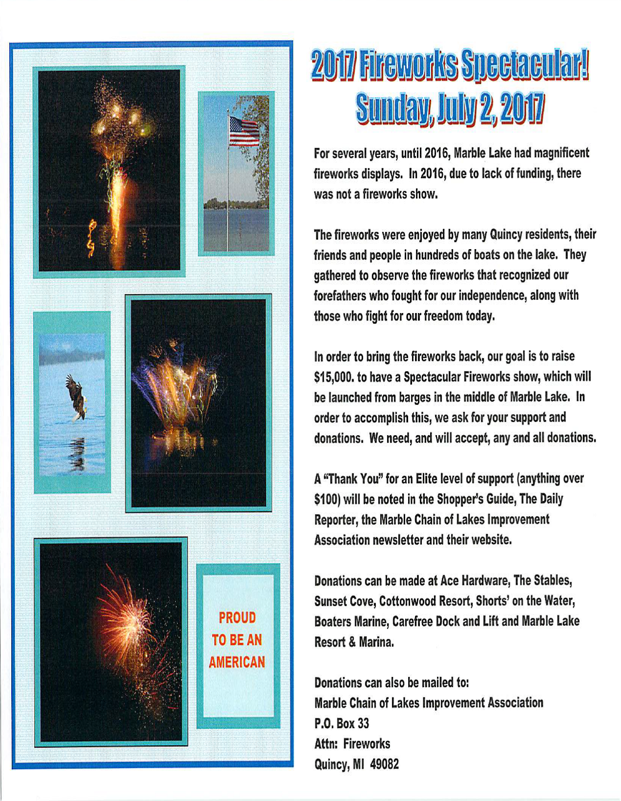 Fireworks Letter To Quincy Residents